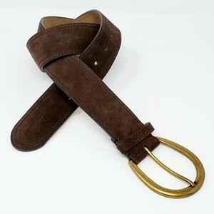 Loft Leather Suede Brown Chunky Belt Gold Buckle